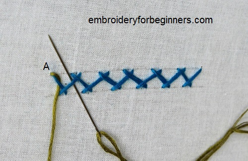 passing the needle through the blue herringbone stitch