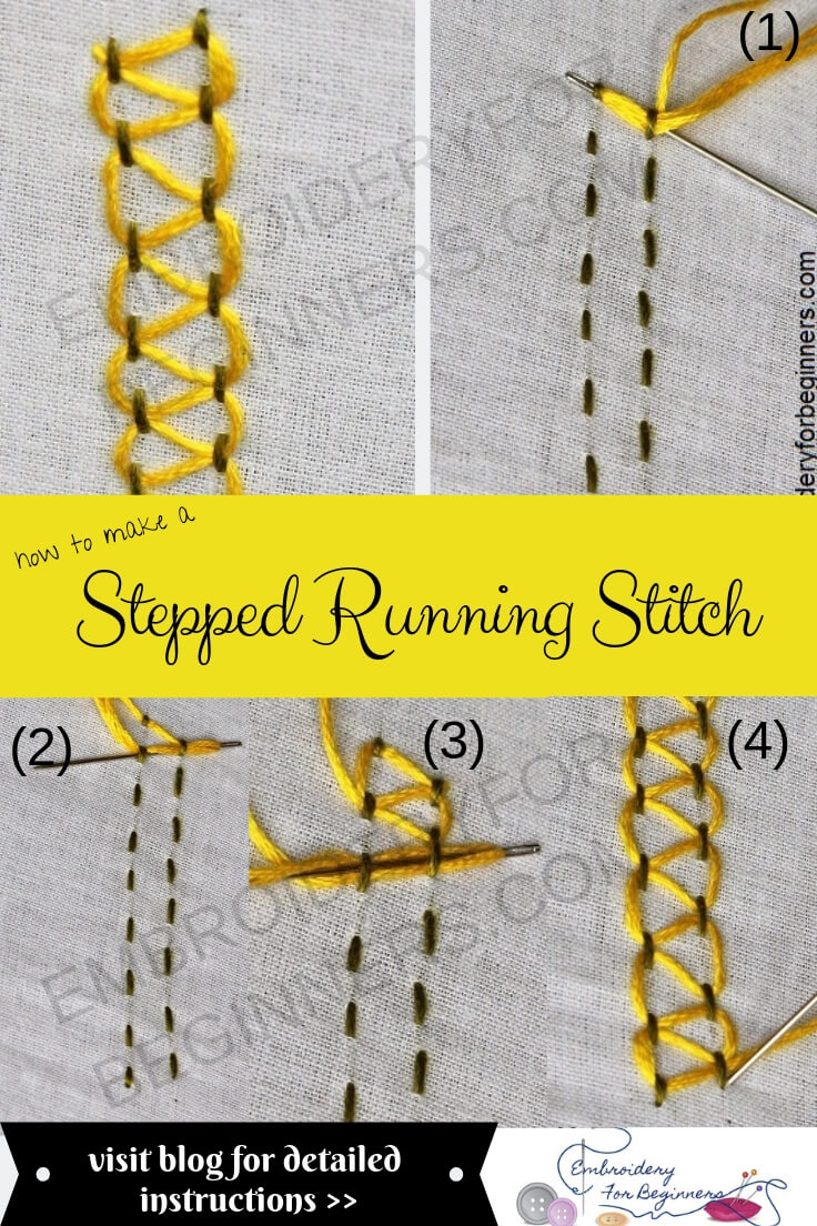 stepped parallel running stitch with step by step pictures