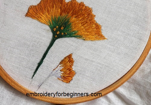 filling the embroidery design