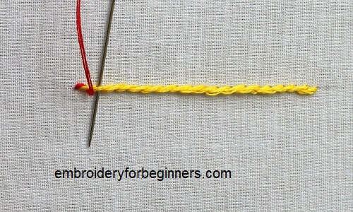 looping the thread around the stem stitch