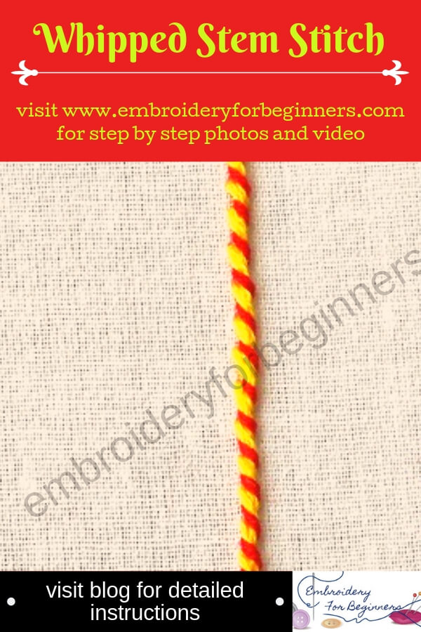 Whipped Stem Stitch in Hand Embroidery (Step By Step & Video