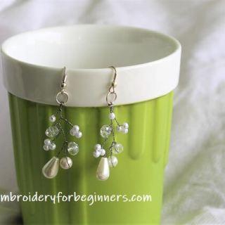 diy pearl bridal earrings