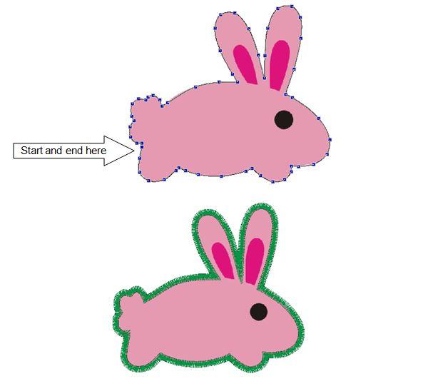 applique outline rabbit