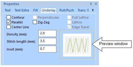 FTCU text underlay properties