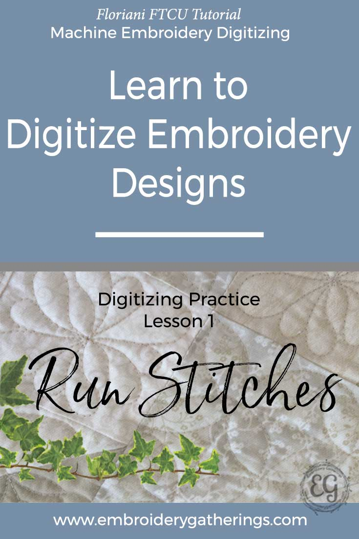 Practice your embroidery digitizing skills with this lesson about Run Stitches using the single, double and bean stitch. Step by step tutorial and PDF.