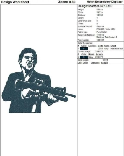 Scarface embroidery design Worksheet