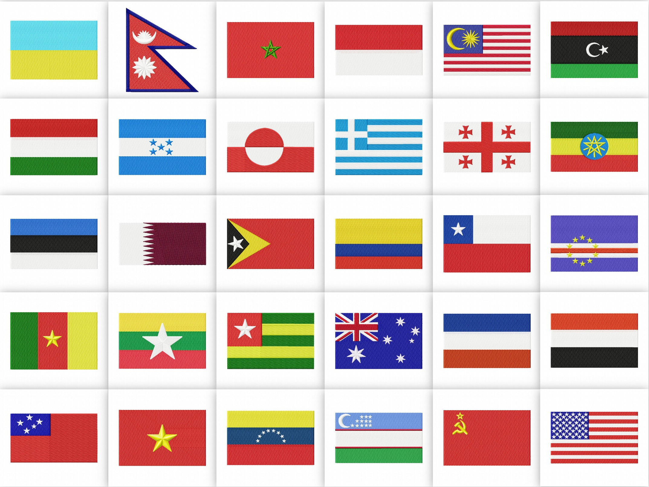 100 World Flags Embroidery Designs Pack Embroidery Super