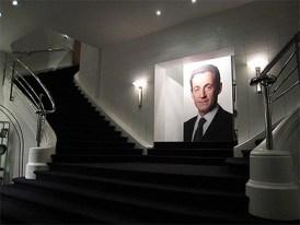 Escalier du siège de campagne de Nicolas Sarkozy, rue d'Enghien, Paris.