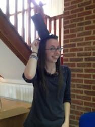 Emma with Mr Turnip Head's hat on