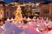 Credit line is: © allfive / Alamy Stock Photo Caption: The famous Christmas Market on the Gendarmenmarkt, Berlin, Germany