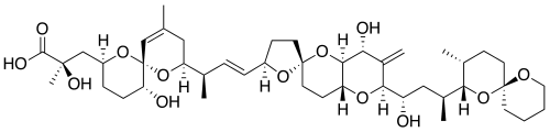 Okadaic acid by Charlesy - Own work. From https://en.wikipedia.org/wiki/Okadaic_acid#/media/File:Okadaic_acid.svg