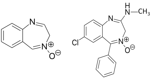 Figure 5.  Quinazoline oxide (left) and chlordiazepoxide (right). Public domain. [https://commons.wikimedia.org/wiki/File:Chlordiazepoxide_structure.svg] [https://commons.wikimedia.org/wiki/Category:Quinazoline#/media/File:Chinazolin.svg]