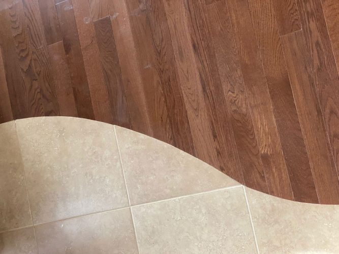 Somerset white oak flooring installation close-up