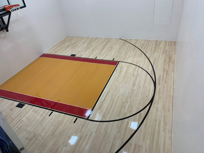 Residential basketball court flooring installation