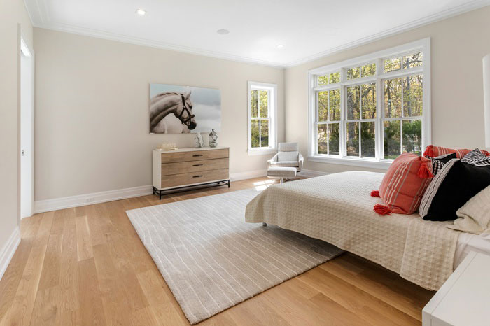 hardwood flooring installation in a Water Mill bedroom