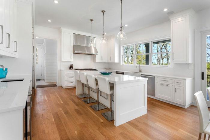 hardwood flooring installation in Water Mill kitchen