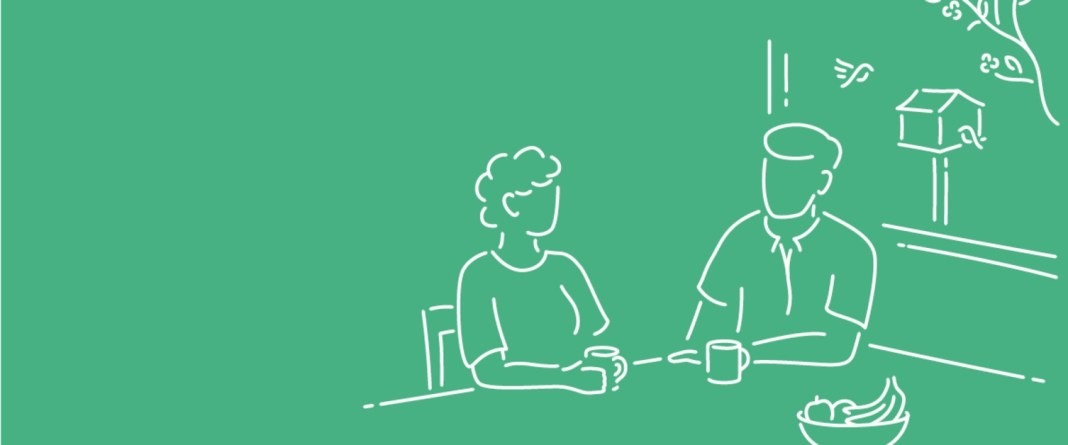 Illustration of two people sat at a table drinking tea