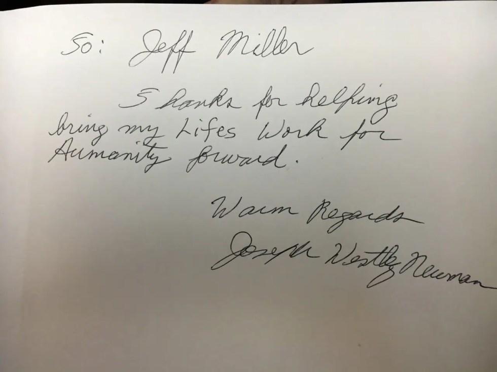 "Joseph Newman thanking Geoffrey ""Jeff"" Miller"