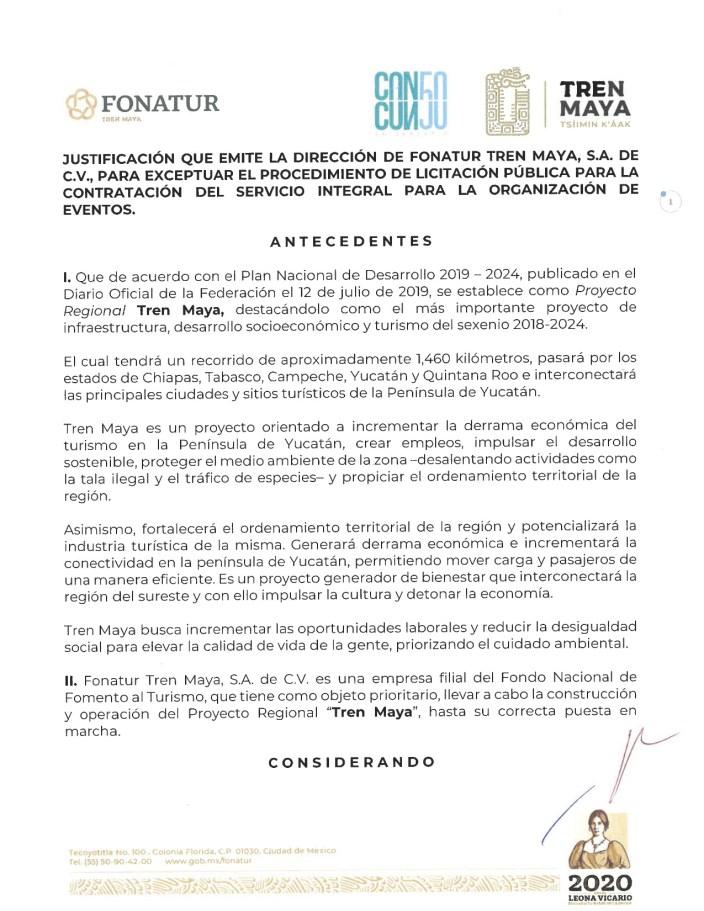 JUSTIFICACION TREN MAYA 1 202104121230 - Gobierno de AMLO asigna millones para eventos masivos… durante la pandemia #AMLO