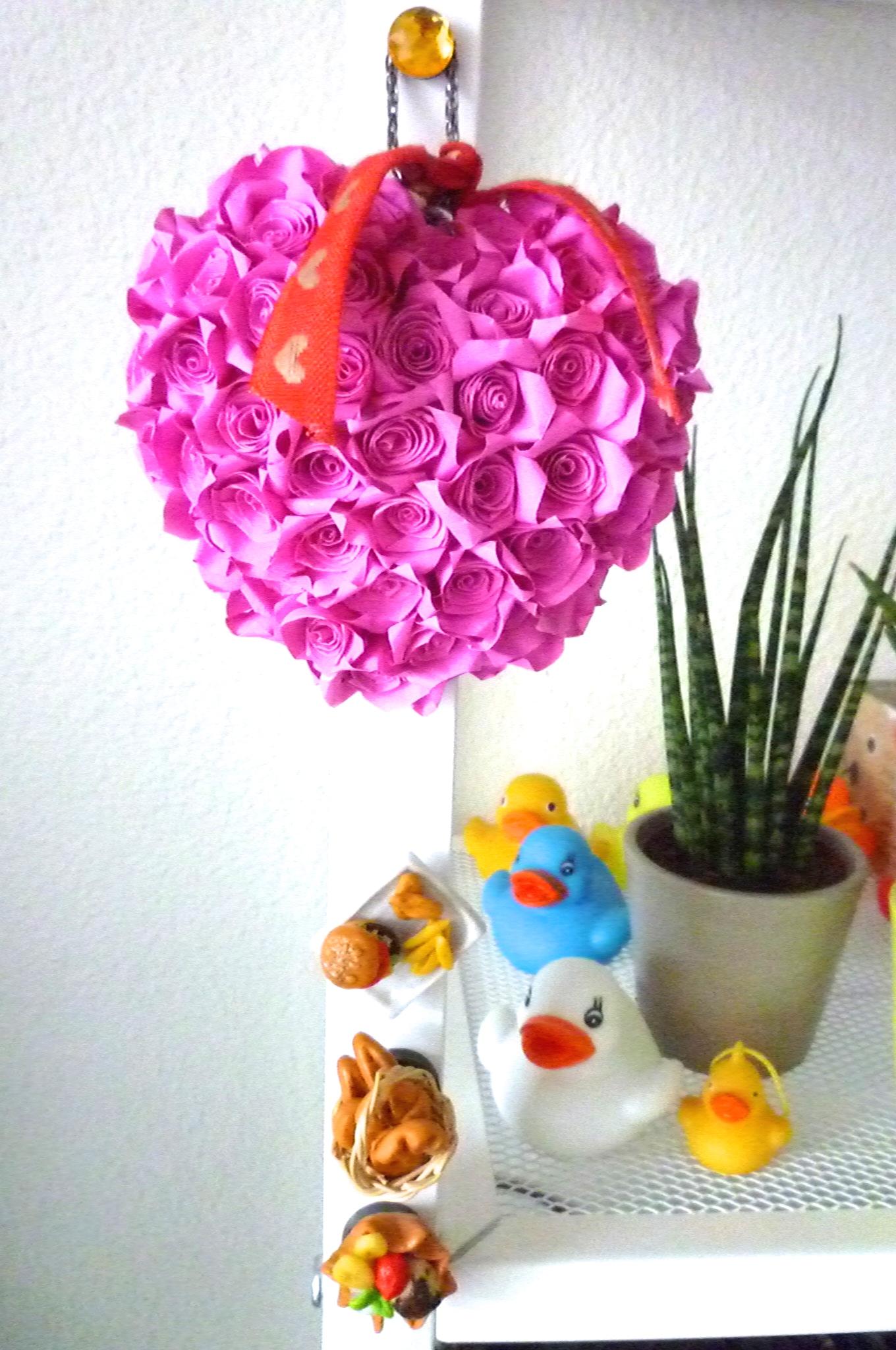 Cute Beautiful Rose Heart Bouquet Pink Handmade Paper
