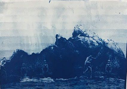 Emelien Dieleman, zonder titel, 2016, 21 x 30 cm, cyanotype op papier