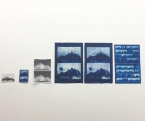 Emelien Dieleman, experimenten lV, V, Vl, 2017, 5-21 x 10-30 cm, negatief, foto en cyanotype