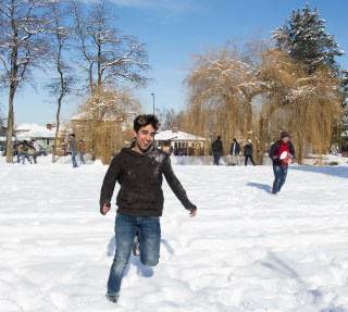 Not to be outdone by UBC, who hosted a public snowball fight the day before, Langara College organized their own. EMELIE PEACOCK PHOTO.