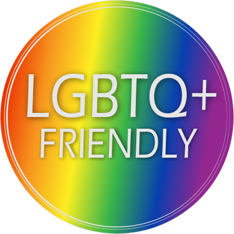 A rainbow badge with the text: LGBTQ+ Friendly.