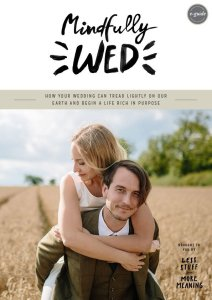 A groom piggybacks his bride through a field on the cover of the Mindfully Wed E-Guide