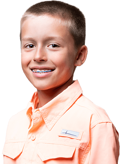 young boy wearing orange fishing button-up, smiling with blue metal braces