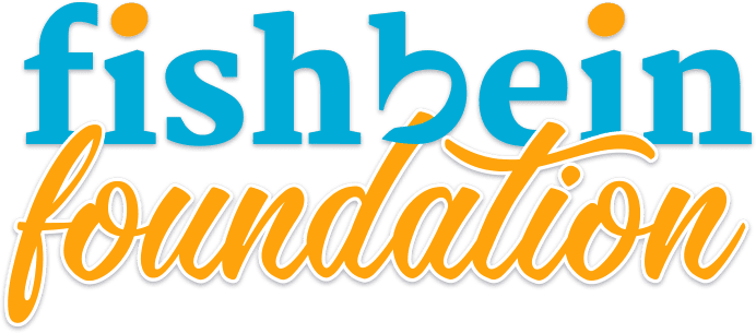 """Fishbein Foundation"" wording on white background, orange and blue colors, Fishbein Orthodontics"