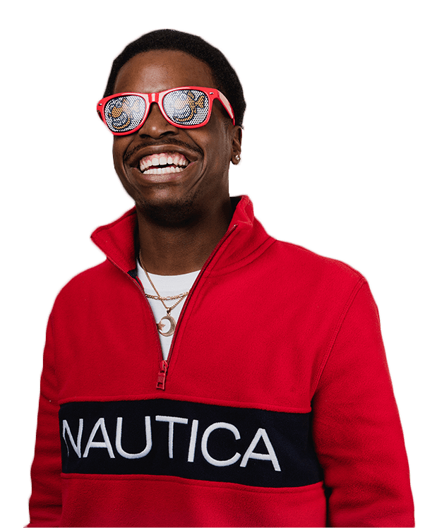 young man wearing red pullover, smiling with white straight teeth, red sunglasses with Fishbein Orthodontics logo, white background