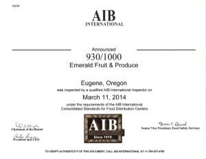 AIB 2014 Certification