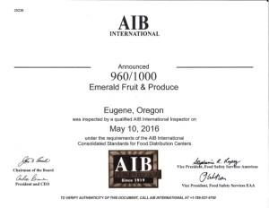 AIB 2016 Certification