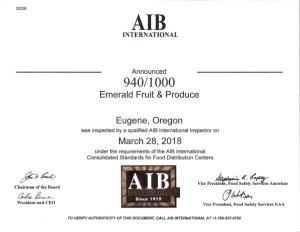 AIB 2018 Certification