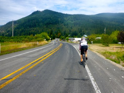 Approaching Chuckanut Drive (the big hill in the distance)