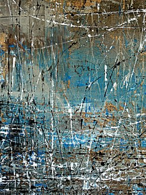 """Tangie Pape Belmore - Blue Thicket, Acrylice & Mixed Media, 48"""" X 60"""""""