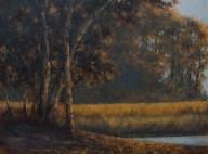 """Burman, Sandee - Backlit Trees, Oil on Board, 18"""" x 22"""" framed"""