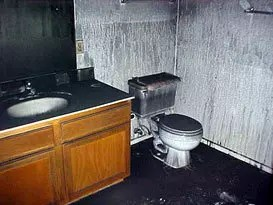 smoke damage in a bathroom
