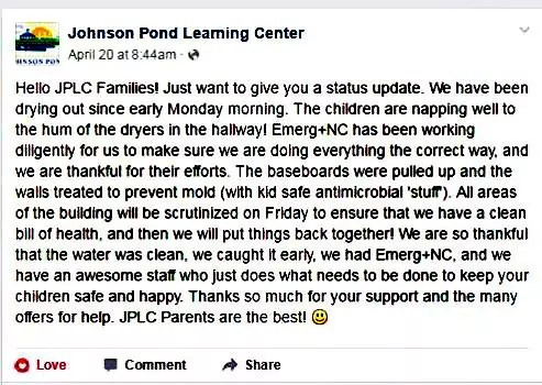 Johnson Pond Learning Center Testimonial Water Damage