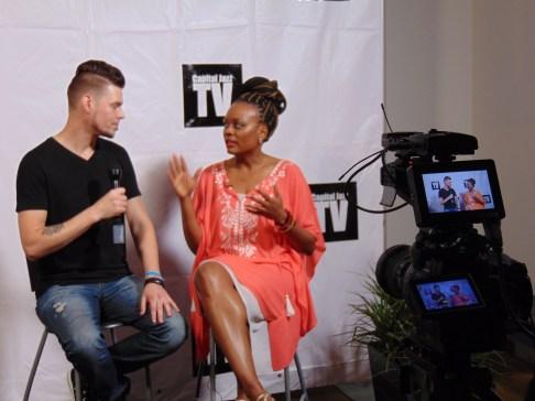 Jarrod Lawson (left) being interviewed by Jodine Dorce' (right)