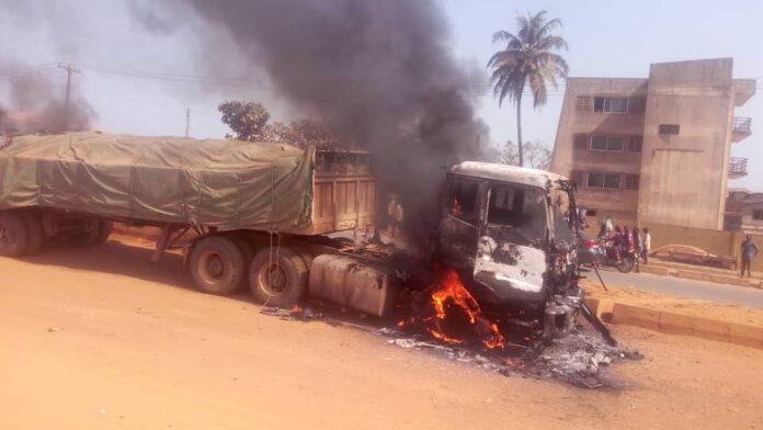 dangote truck on fire