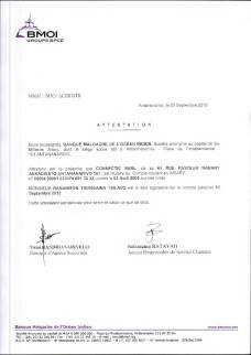 Attestation de toutes les banques RANARISON Tsilavo est le seul signataire des comptes de CONNECTIC