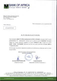 Attestation BOA RANARISON Tsilavo est le seul signataire des comptes de CONNECTIC