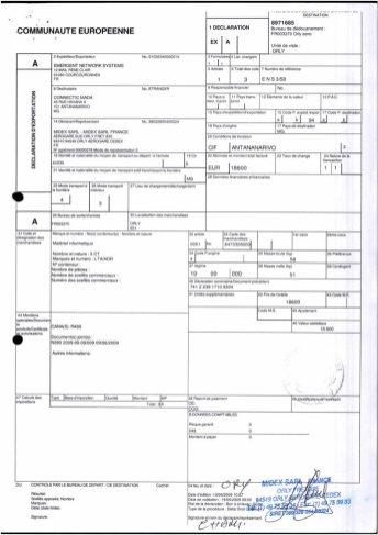 Envoi d'EMERGENT à CONNECTIC dossier douanes françaises EX1 2009_Page6