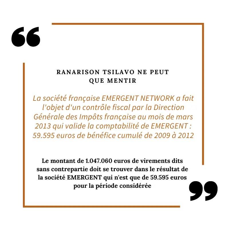 1.047.060 euros de virements dits illicites d'après RANARISON Tsilavo envoyés par CONNECTIC dans le compte bancaire de EMERGENT NETWORK – Partie 2