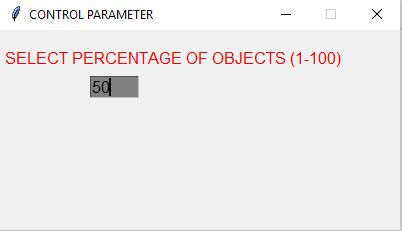 ae5-Control Window asking for Percentage of Obstacles in Environment
