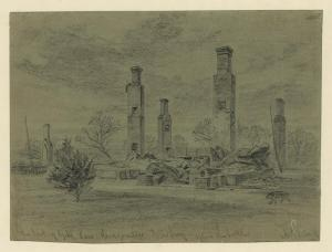 Remains of the Turnbull House. Sketch by Alfred Waud.