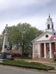 Another view of the Confederate Memorial with the town courthouse to the right