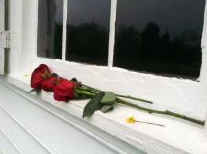 Roses left at the Shrine